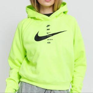 Nike NSW Women's Fleece Hoodie Neon Green Swoosh